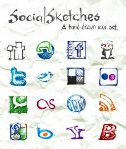social pack icone handwrite manuscrite