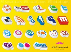 social icon 3d pink moustache