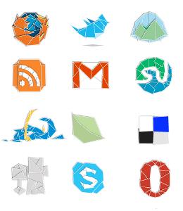 set icons icones papier chiffon social